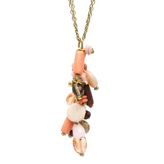 Alexa Starr Two-row Burnished Goldtone Blush Glass Bead Cluster Necklace