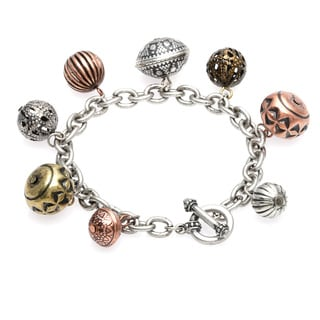 Alexa Starr Burnished Silvertone Textured Tri-tone Bead Toggle Bracelet
