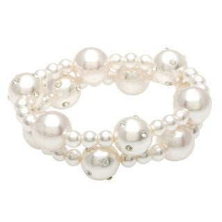 Alexa Starr Two-row Rhinestone and Glass Pearl 2-piece Stretch Bracelet Set