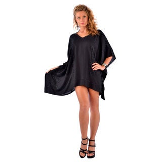 1 World Sarongs Women's Embroidered Black Poncho Cover-up (Indonesia)