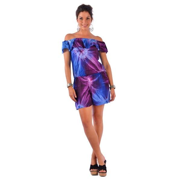 Blue/ Purple Tie-dye Off-shoulder Cover-up Jumper (Indonesia)