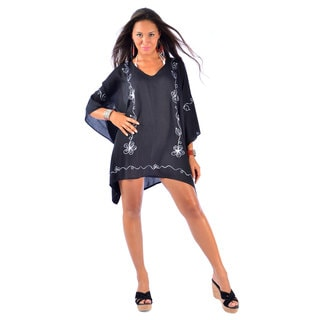 1 World Sarongs Women's Embroidered Black/ Grey Poncho Cover-up (Indonesia)