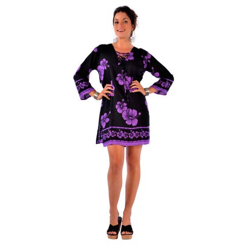 Handmade 1 World Sarongs Women's Black/ Purple Hibiscus Tunic Cover-up (Indonesia)