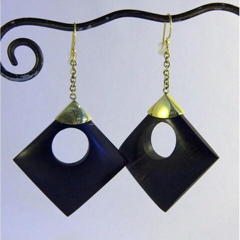 Handmade 'Circle in A Square' Dangle Earrings (Indonesia) - Black
