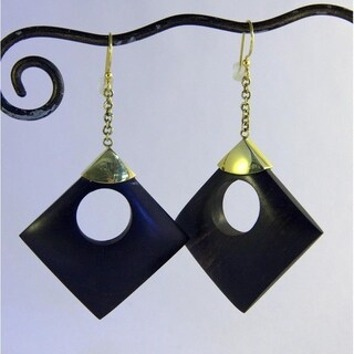 Handmade 'Circle in A Square' Dangle Earrings (Indonesia)