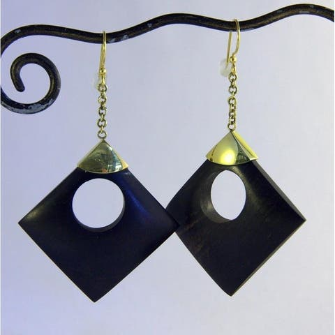 Handmade Brass and Wood Circle in Square Dangle Earrings (Indonesia)