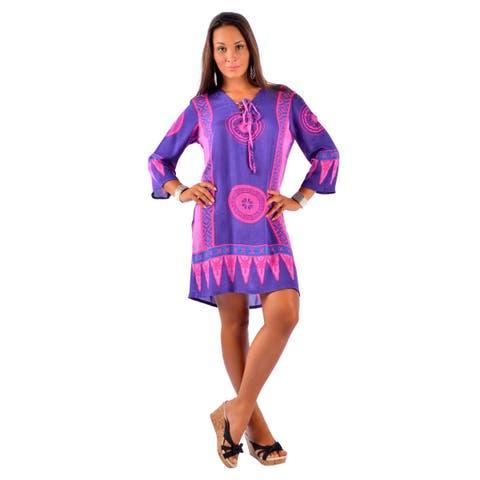 Handmade 1 World Sarongs Women's Pink/ Purple Abstract Tiki Tunic Cover-up (Indonesia)