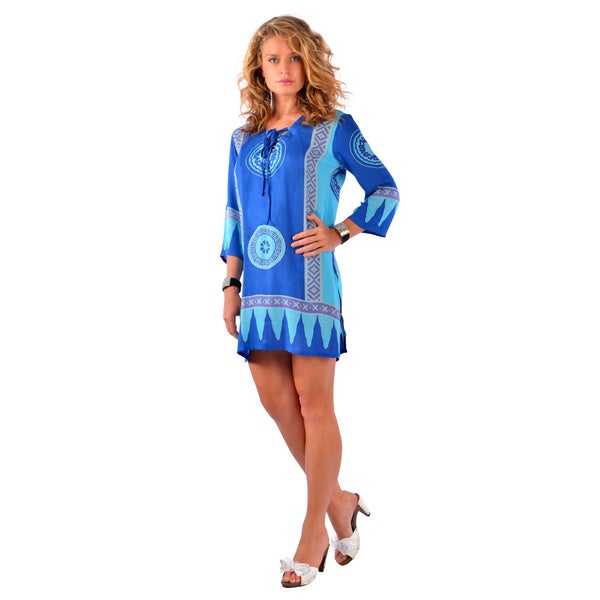1 World Sarongs Women's Turquoise/ Blue Abstract Tiki Tunic Cover-up