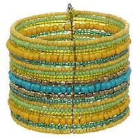 Alexa Starr Burnished Goldtone Beaded Multi-row Wire Cuff Bracelet