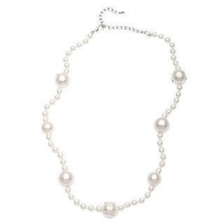 Alexa Starr Short White Pearl and Rhinestone Necklace