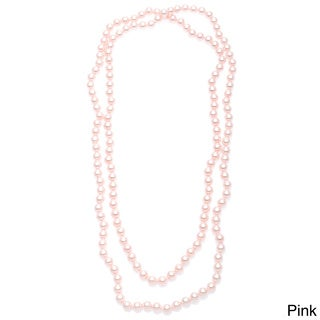 Alexa Starr Hand-knotted Endless 54-inch Glass Pearl Necklace (8-9 mm)