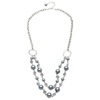 Alexa Starr Silvertone Double-row Grey Faux Pearl and Glass Bead Necklace