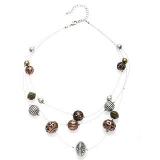 Alexa Starr Silvertone 3-row Wire Burnished Tri-tone Bead Illusion Necklace