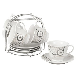 Grey Abstract Porcelain 9-piece Tea/ Coffee Set on Stand