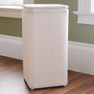 White Basketweave Apartment Hamper