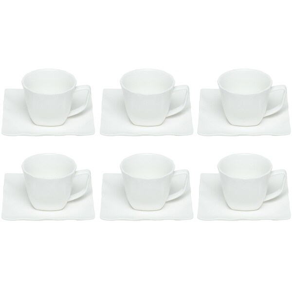Red Vanilla Wave Espresso Cup and Saucer (Set of 6)