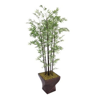 Laura Ashley 82-inch Black Bamboo Tree with Fiberstone Planter