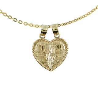 "10k Breakable Yellow Gold ""Te Amo"" Heart Charm Necklace"