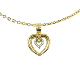 10k Two Tone Gold Double Open Heart Charm Necklace with Chain