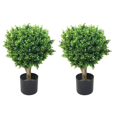 Buy topiary artificial plants online at overstock our best romano 2 foot indoor outdoor hedyotis topiary trees set of 2 aloadofball Choice Image