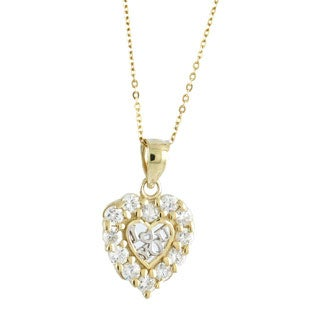 "10k Yellow Gold Cubic Zirconia ""I Love You"" Heart Charm Necklace"