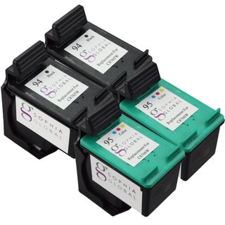 Sophia Global Remanufactured HP 94 and HP 95 Black/ Color Ink Cartridge Replacements (Set of 4)