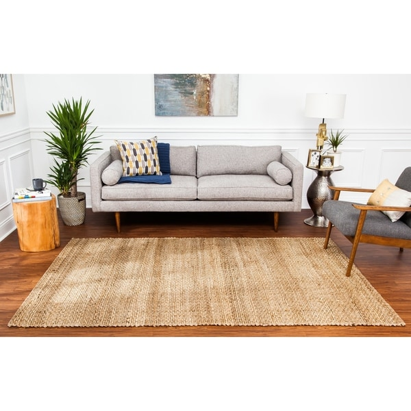 Jani Ria Natural Gold and Brown Jute Rug - 9' x 12'