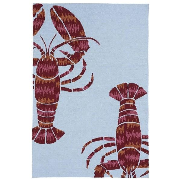 Handmade Luau Blue Lobster Indoor/ Outdoor Rug - 8'6 x 11'6