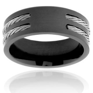 Men's Black Plated Titanium Double Wire Cable Inlay Ring (8 mm) (More options available)