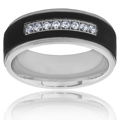 Two Tone Black Plated Titanium Men's Cubic Zirconia Ring - White