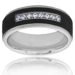 Two Tone Blackplated Titanium Men's Cubic Zirconia Ring