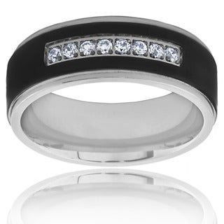 Two Tone Black Plated Titanium Men's Cubic Zirconia Ring - White (5 options available)