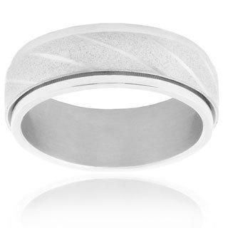 Stainless Steel Men's Diagonal Grooved Sandblasted Polished Edge Spinner Ring - White
