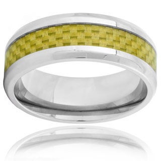Stainless Steel Men's Yellow Gold Carbon Fiber Inlay Beveled Edge Ring