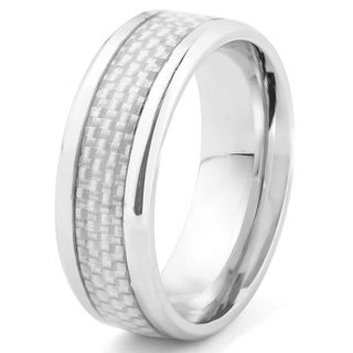 Stainless Steel Men's White Carbon Fiber Inlay Beveled Edge Ring