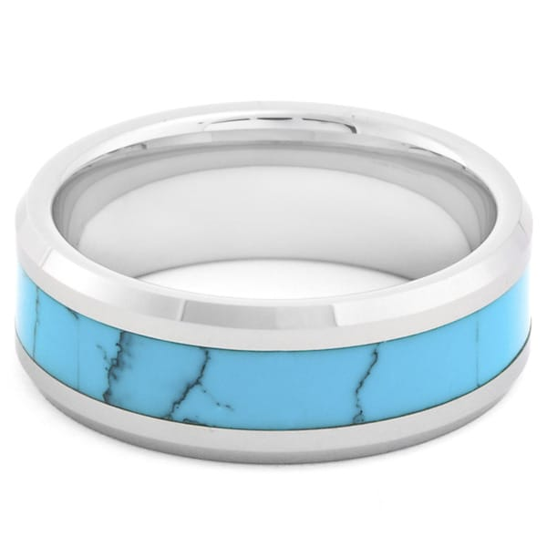 Men's Tungsten Carbide Turquoise Inlay Beveled Edge Band Ring