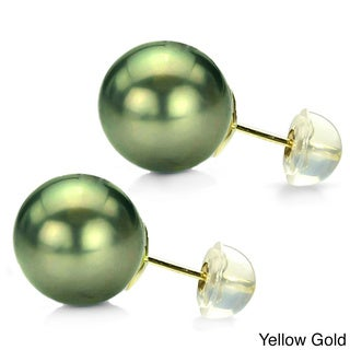 DaVonna 14k Gold Perfect Round AAA Tahitian Pearl Stud Earring (13-14 mm)