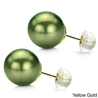 DaVonna 14k Gold Perfect Round AAA Tahitian Pearl Stud Earring (11-12 mm)