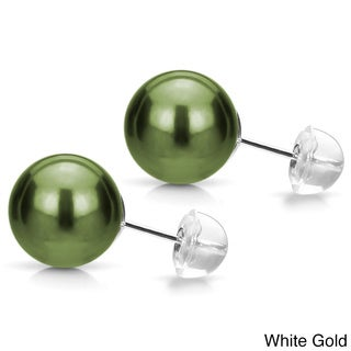 DaVonna 14k Gold AAA Green Sheen Tahitian Pearl Stud Earring