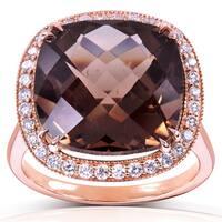 Annello by Kobelli 14k Rose Gold 8 1/4ct TGW Cushion Smoky Quartz and Diamond Halo Large Gemstone Ring