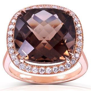 Annello by Kobelli 14k Rose Gold 8 1/4ct TGW Cushion Smoky Quartz and Diamond Halo Large Gemstone Ring