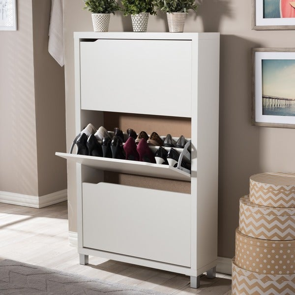 Baxton Studio Simms 3 Tier White Wood Modern Shoe Cabinet