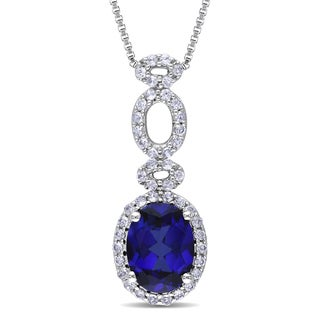 Miadora Sterling Silver Created Blue and White Sapphire Necklace