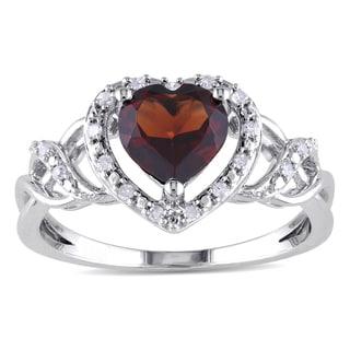 Miadora Sterling Silver Garnet and 1/10ct TDW Diamond Heart Ring (H-I, I2-I3)