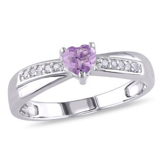 Miadora Sterling Silver Heart-cut Amethyst and Diamond Accent Ring