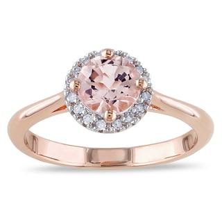 Miadora Rose Goldplated Silver Morganite and 1/10ct TDW Diamond Ring (I-J, I3)