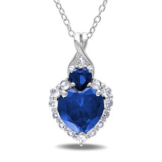 Miadora Silver Created Blue and White Sapphire and Diamond Accent Heart Necklace