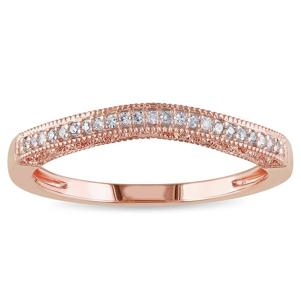 Miadora 14k Rose Gold Diamond Contour Curved Anniversary Ring