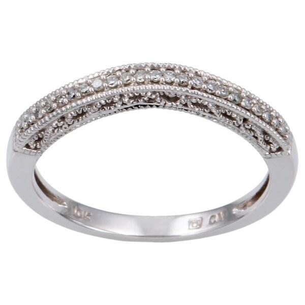 10k White Gold Diamond Accent Chevron Wedding Bandby Miadora