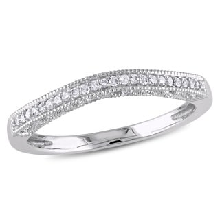 10k White Gold Diamond Accent Chevron Wedding Bandby Miadora